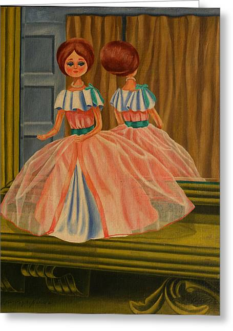 Greeting Card featuring the painting Donna Doll by Rosencruz  Sumera