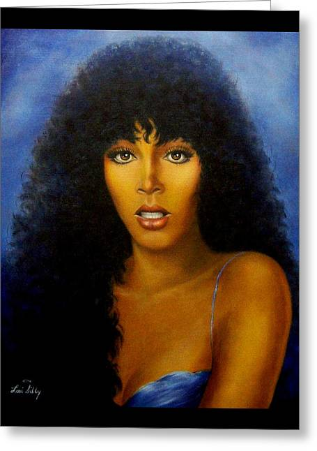 Greeting Card featuring the painting Donna Summers by Loxi Sibley