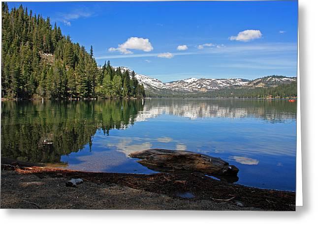 Donner Lake Reflections Greeting Card by Kathy Yates