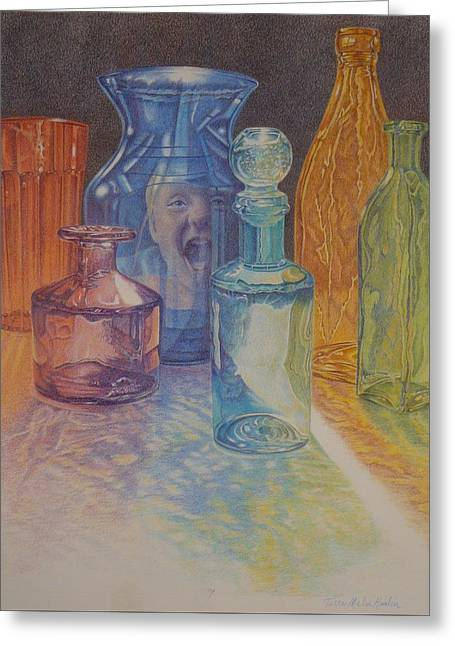 Don't Break The Glass, Colored Glass Bottles With Colorful Reflection Greeting Card by Terri Melia - Hamlin