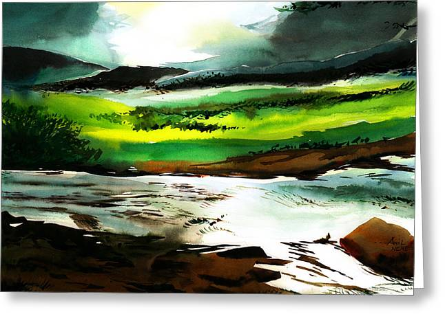 Surreal Landscape Drawings Greeting Cards - Dont go back to town Greeting Card by Anil Nene
