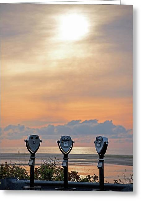 Don't Look Directly Into The Sun Chatham Ma Cape Cod Trio Greeting Card by Toby McGuire