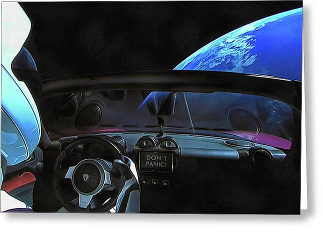 Dont Panic - Tesla In Space Greeting Card