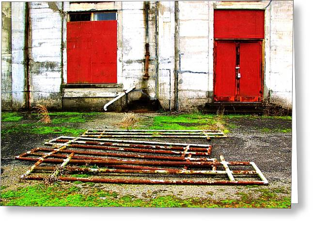 Dont Think Of Red Doors Greeting Card by Lee M Plate