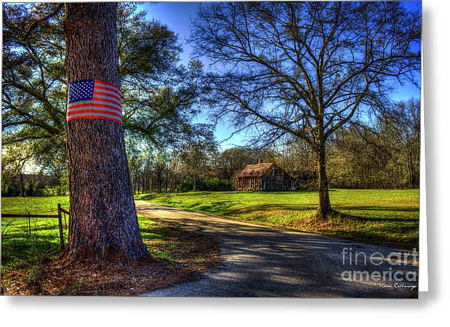 Don't Tread On Me American Flag Art Greeting Card by Reid Callaway