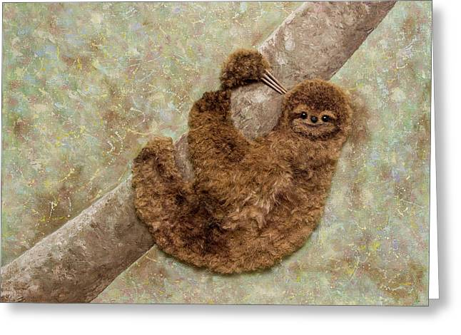 Don't Worry, Be Happy. Sloth. Animal. Painting With 3d Effect Greeting Card by Yuliia Ustymenko