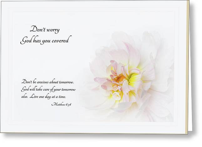 Don't Worry With Verse Greeting Card by Mary Jo Allen
