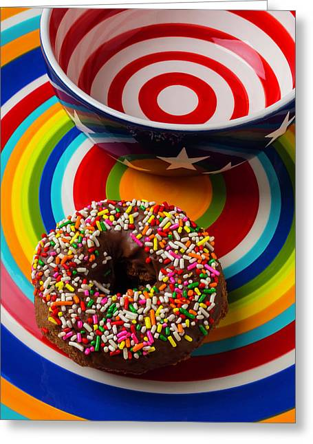 Donut On Circle Plate Greeting Card