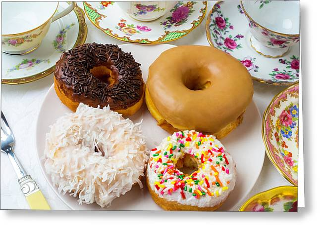 Donuts And Tea Cups Greeting Card