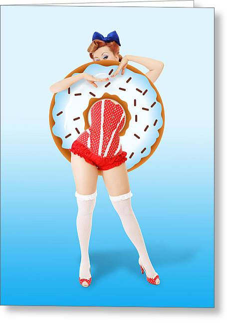 Donuts Woman Greeting Card by Mark Ashkenazi