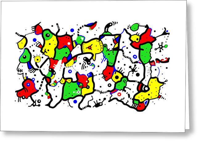 Doodle Abstract Greeting Card by Marv Vandehey
