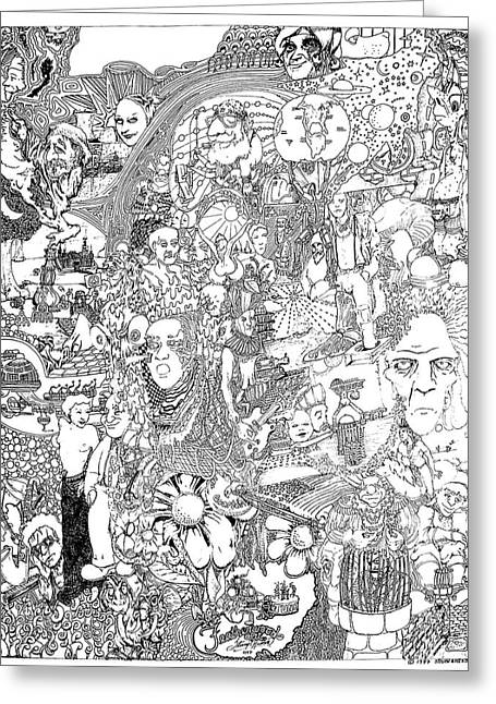 Doodle Art 1987 Greeting Card by Steve  Hester