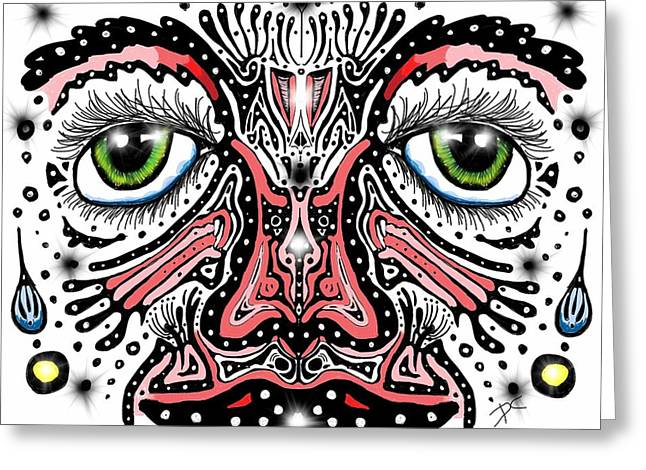 Greeting Card featuring the digital art Doodle Face by Darren Cannell
