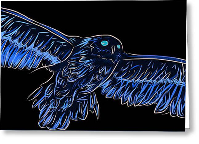 Doodle Style Illustration Of European Eagle Owl Bubo Bubo Greeting Card by Matthew Gibson