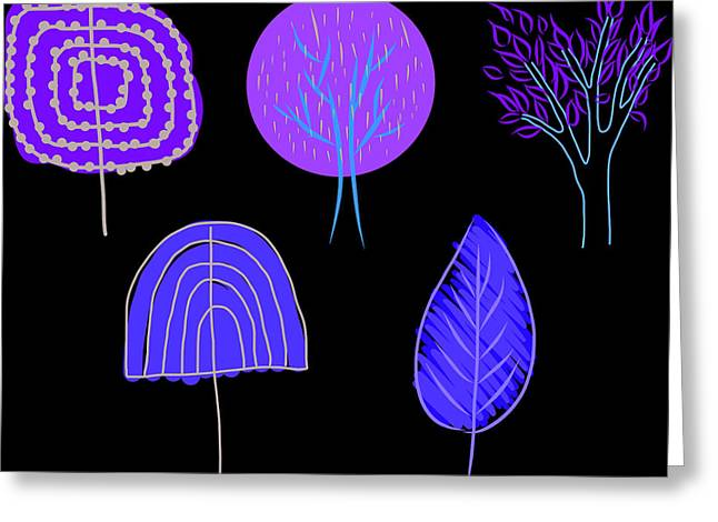 Doodle Style Vector  Illustration Of Various Trees Greeting Card