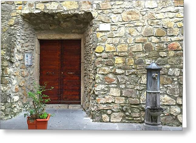 Door And Fountain  In Anzio Italy Greeting Card