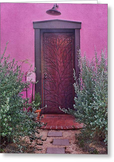 Door And Mailbox - Barrio Historico - Tucson Greeting Card by Nikolyn McDonald