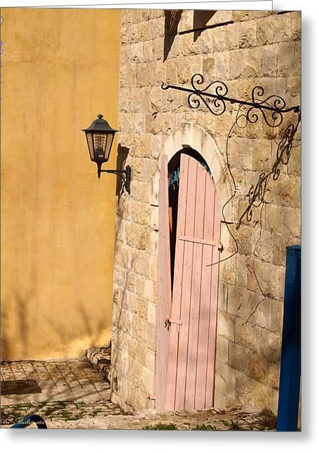 Door And Streetlight. Greeting Card