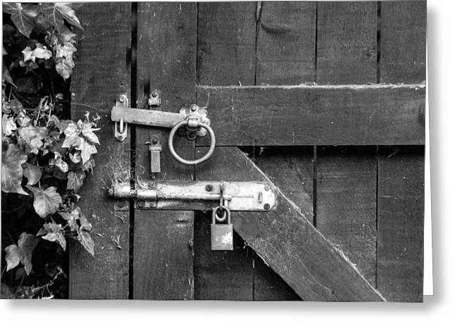 Door Bolt And Lock Monochrome Greeting Card by Jeff Townsend