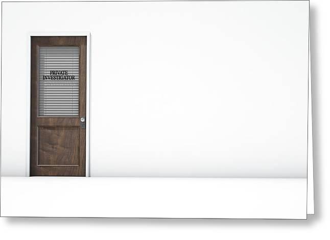 Door In Private Eye Room Greeting Card by Allan Swart