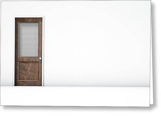 Door In White Room Greeting Card