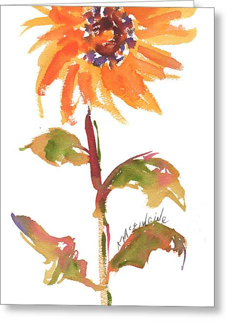 Door Keeper Sunflower Watercolor Painting By Kmcelwaine Greeting Card