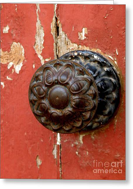 Door Knob On Red Door Greeting Card