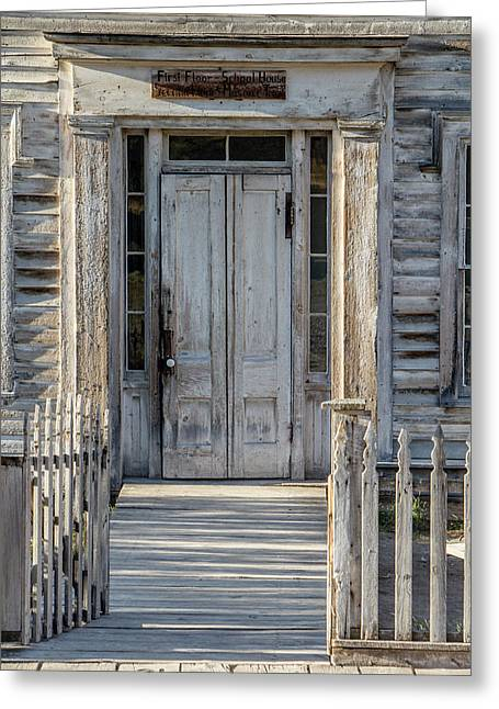 Door Of The Old Bannack Schoolhouse And Masonic Temple Greeting Card