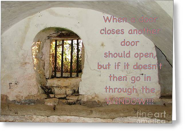 Door Or Window Greeting Card by Italian Art