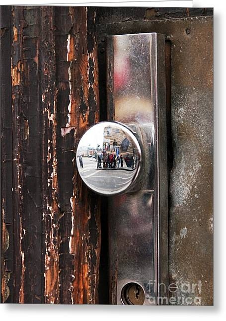 Door Reflections Greeting Card by John Rizzuto