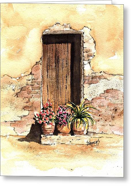 Door With Flowers Greeting Card by Sam Sidders