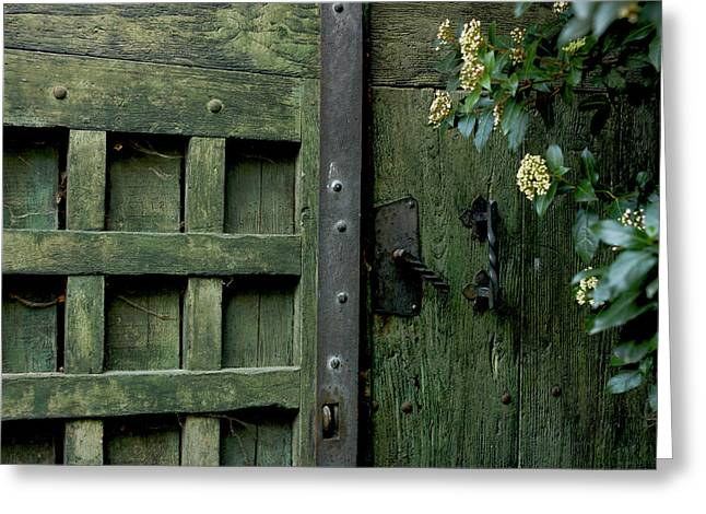 Door With Padlock Greeting Card by Bernard Jaubert