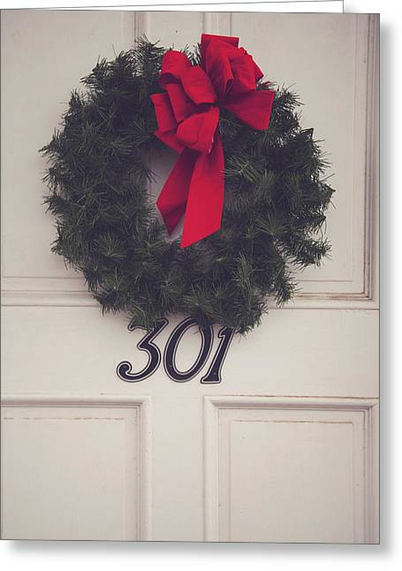 Door With Red Bow Wreath Greeting Card by Toni Hopper