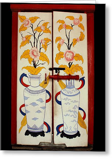 Door With Two Vases Greeting Card by Ty Lee