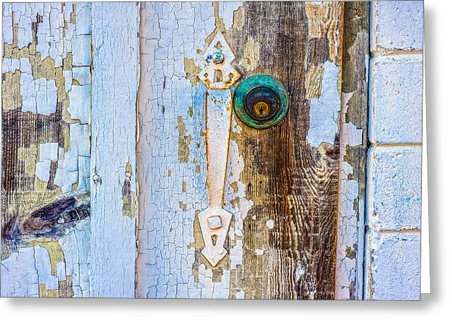 Door With Weathered Paint Greeting Card