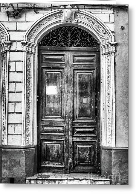 Doors Of Cuba Green Door Bw Greeting Card by Wayne Moran