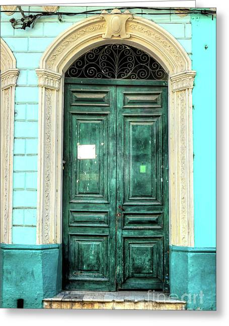 Doors Of Cuba Green Door Greeting Card by Wayne Moran