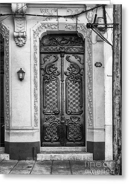 Doors Of Cuba Yellow Door Bw Greeting Card