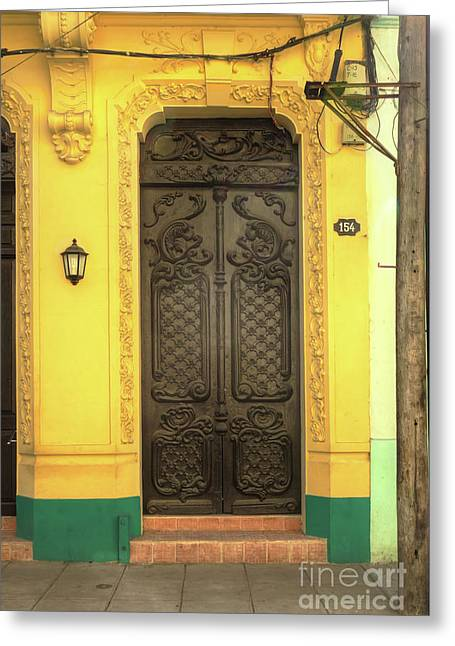 Doors Of Cuba Yellow Door Greeting Card by Wayne Moran