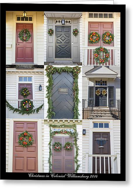 Doors Of Williamsburg Collage 6 Greeting Card by Teresa Mucha