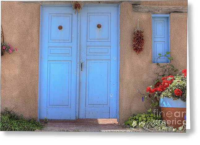 Doors, Peppers And Flowers. Greeting Card