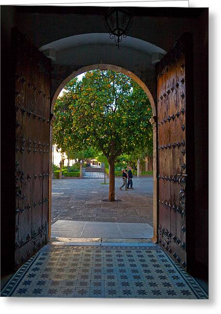 Doorway And Arch Between Gardens Greeting Card by Panoramic Images