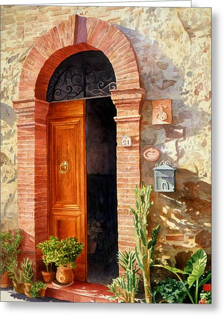 Doorway In Tuscany Number 2 Greeting Card