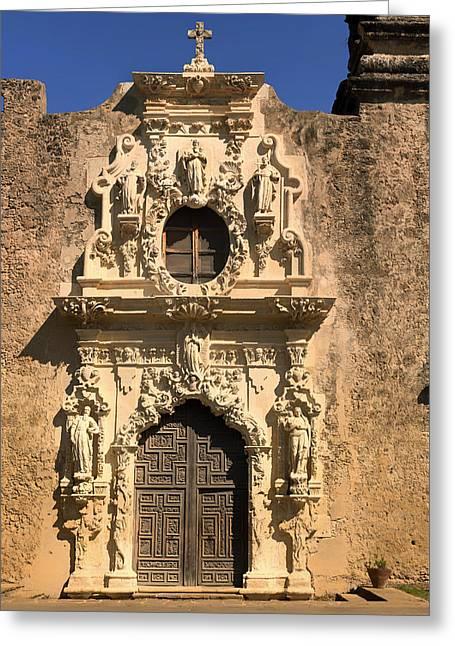 Doorway Of Mission San Jose Y San Miguel - San Antonio Greeting Card
