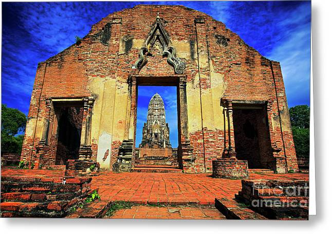 Doorway To Wat Ratburana In Ayutthaya, Thailand Greeting Card