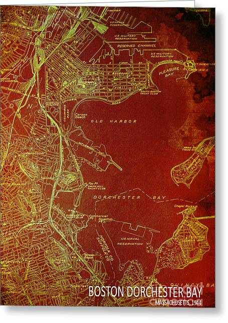 Dorchester Bay Old Map Greeting Card