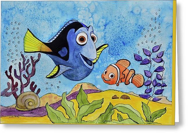 Dori And Nemo Greeting Card by Linda Brody
