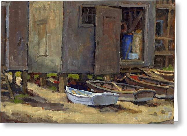 Dories On Fish Beach Greeting Card