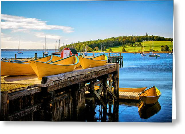 Dories On The Dock Greeting Card
