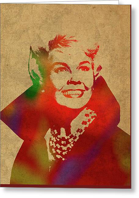 Doris Day Watercolor Portrait Greeting Card by Design Turnpike